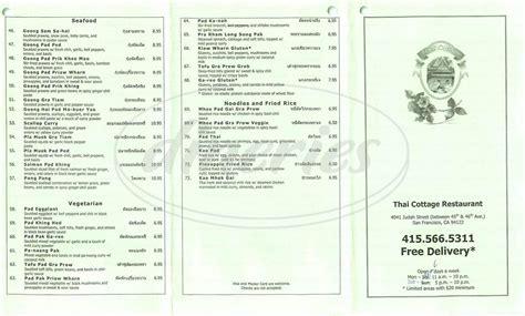 thai cottage delivery thai cottage menu san francisco dineries