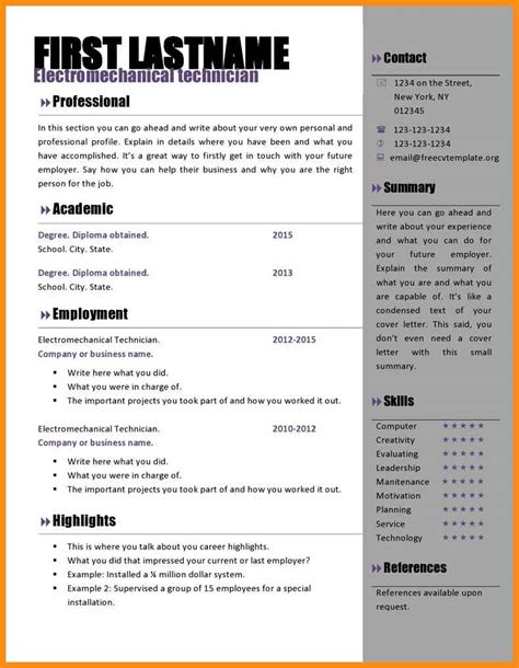 Cv Template Word by 8 Free Cv Template Microsoft Word Odr2017