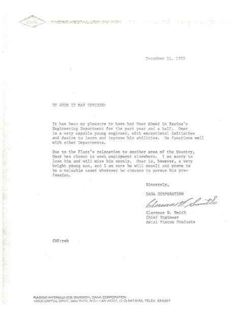 chief engineer recommendation letter omar ahmed