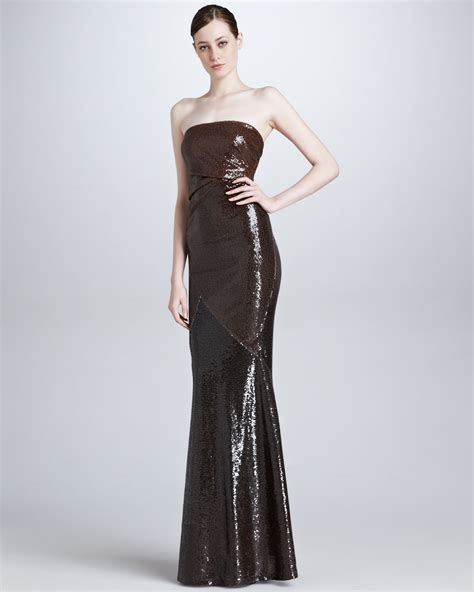 draped evening gown donna karan new york draped strapless sequin evening gown