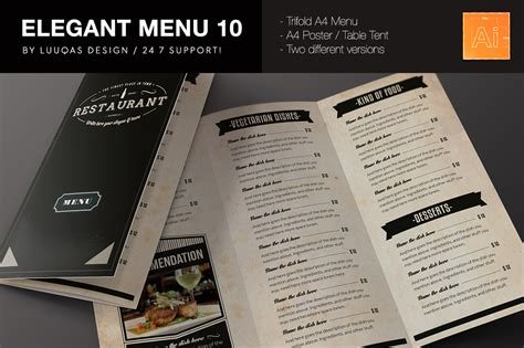 design online menu elegant food menu 10 brochure templates on creative market