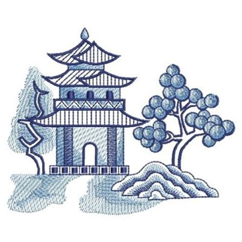 willow pattern art ideas pagoda embroidery designs machine embroidery designs at