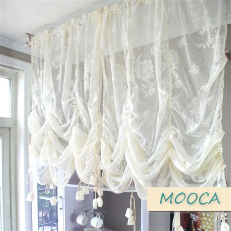 how to make pull up curtains aliexpress com buy ivory white ruffled lace curtain pull