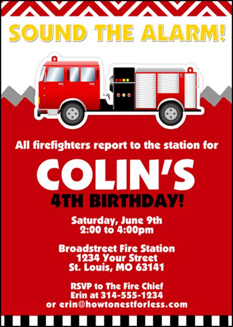 Fire Truck Birthday Party With Free Printables How To Nest For Less Firefighter Invitation Templates
