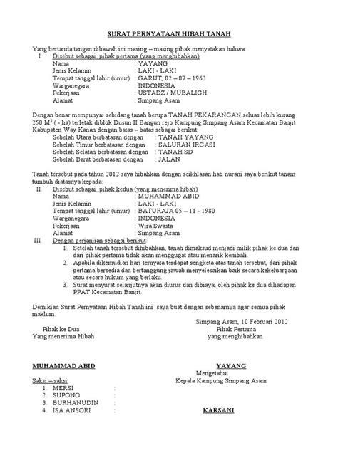 contoh surat pernyataan hibah tanah backup gambar