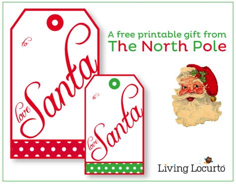 santa gift tags from the north pole christmas free