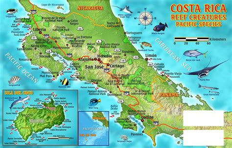 detailed map of costa rica large detailed dive map of costa rica costa rica