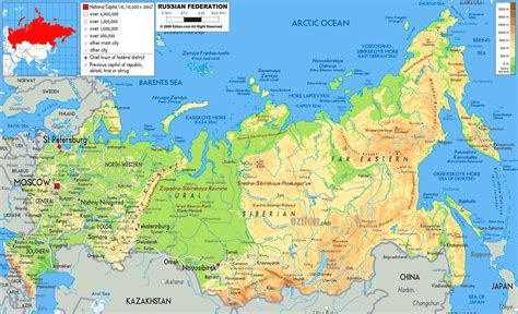 russia map showing cities largest most detailed map and flag of russia travel