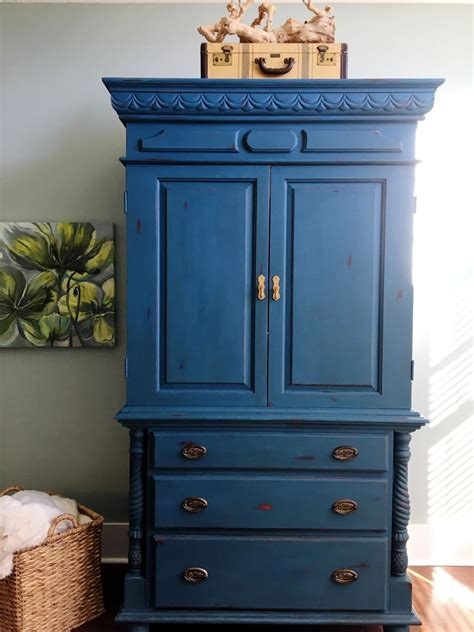 chalk painted armoire makeover aubusson blue  bees