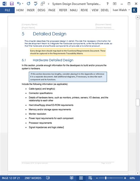 hardware documentation template system design document templates requirements