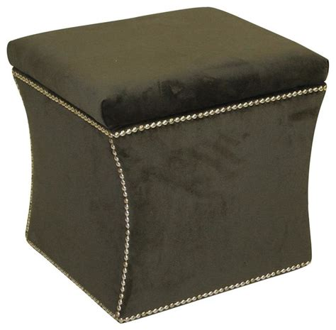 Nailhead Storage Ottoman Upholstered Nailhead Storage Ottoman Contemporary Footstools Ottomans By Shopladder