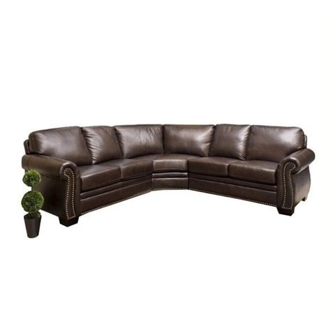 3 piece leather sectional sofa pemberly row 3 piece leather sectional sofa in dark