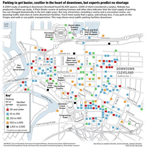 downtown cleveland map downtown cleveland parking tightens up due to casino