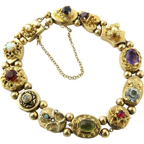 vintage 14k yellow gold slide charm bracelet with
