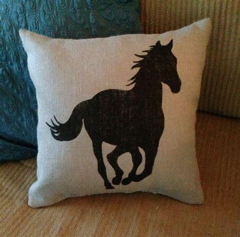 Horses Pillow by Burlap Pillow Burlap Pillow Silhouette