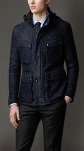 burberry quilted suede field jacket in blue for lyst