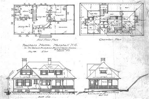 floor plan and elevation of a house school house for the woman s presbyterian board of home