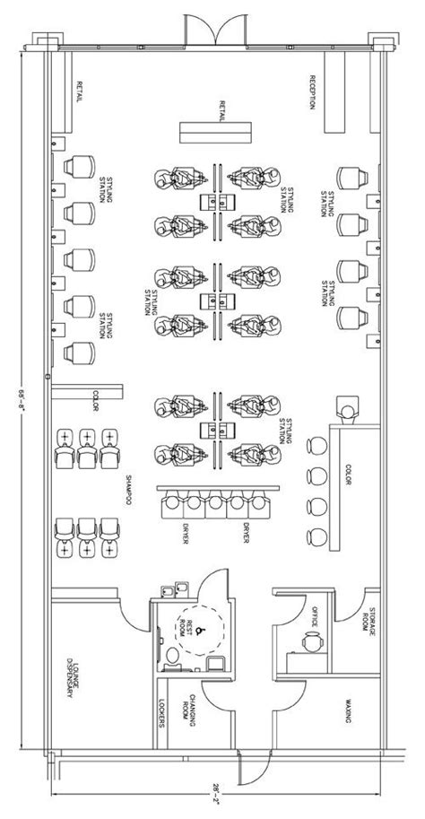 beauty salon floor plan design layout 1390 square foot sun design and ps on pinterest