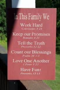 Family Rules Sign with Bible Verses