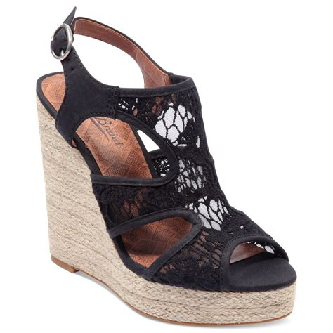 lace wedge sandals lyst lucky brand riedel lace platform wedge sandals in