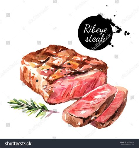 watercolor ribeye steak isolated food illustration stock illustration 369946268
