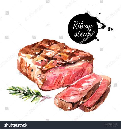 watercolor ribeye steak isolated food illustration stock illustration 369946268
