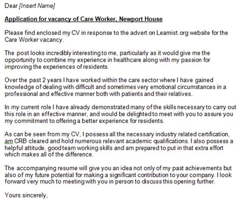 covering letter for care assistant care worker cover letter exe learnist org