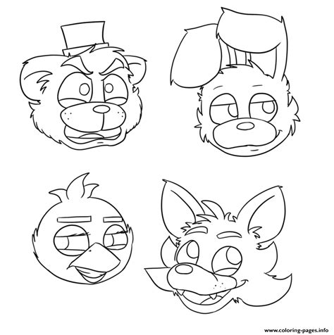fnaf coloring pages foxy five nights at freddys fnaf bonnie foxy mangle coloring