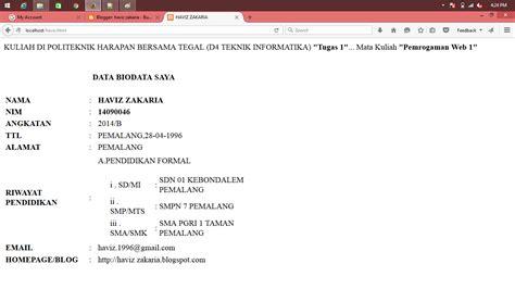 membuat html biodata sederhana haviz zakaria scrip html membuat biodata sederhana