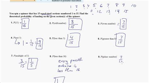 Experimental Probability Worksheet Answers