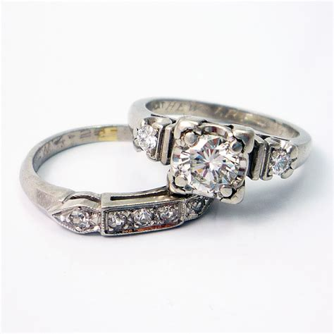 platinum vintage retro 1940s engagement wedding ring