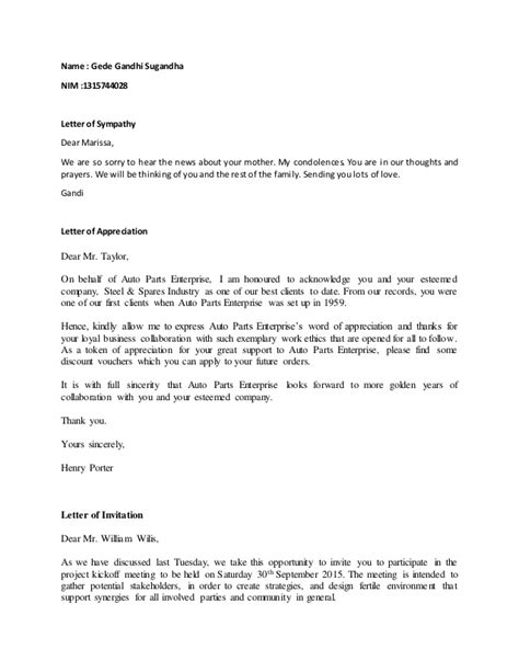 Business Letter Dear Business Letter Dear The Letter Sle