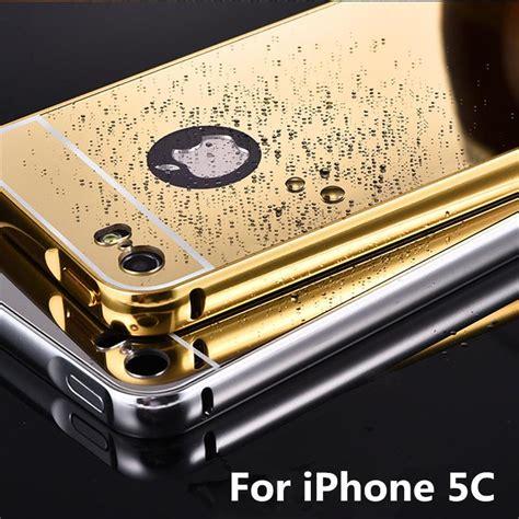 Iphone 5c Aluminium Bumper With Mirror Back Cover for apple iphone 5c metal bumper cases golden plating aluminum frame mirror acrylic back