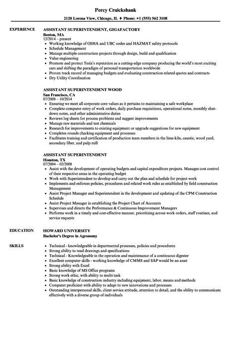 Superintendent Resume by Assistant Superintendent Resume Sles Velvet