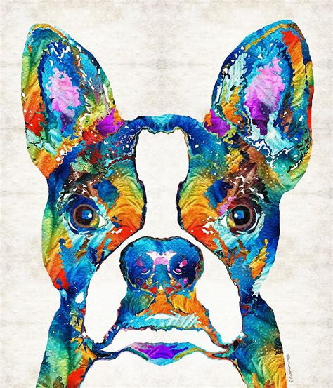 colorful dogs quot colorful boston terrier pop quot prints by