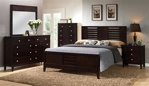 espresso bedroom set f9281 bedroom 5pc set in dark espresso by boss w options