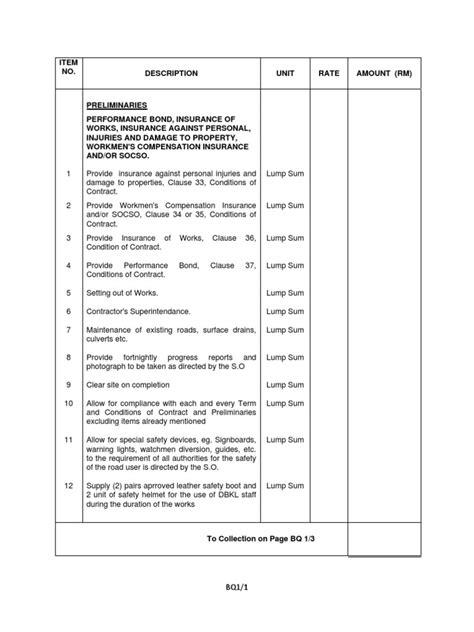 design and build contract bill of quantities bills of quantities preliminaries works pdf