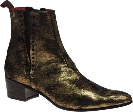 jeffery west cuban heel chelsea boots in gold for lyst