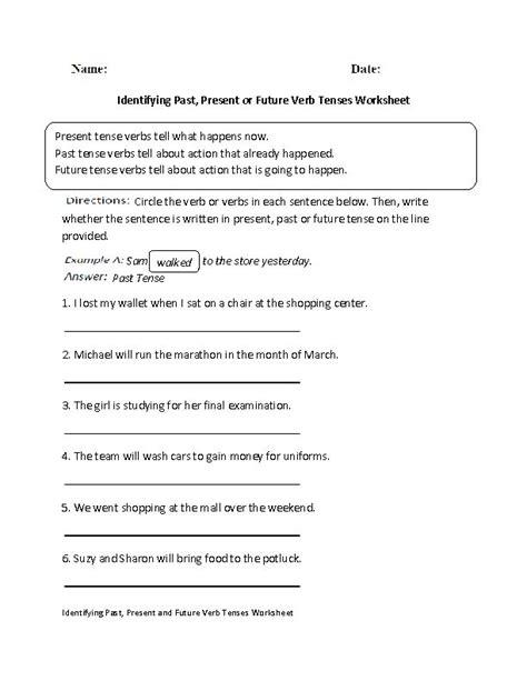 Identifying Verbs Worksheet by Identifying Past Present Or Future Verb Tenses Worksheet