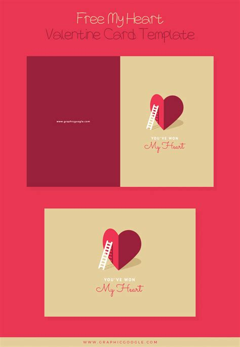 Free My Heart Valentine Card Template For Lovers Free Templates Cards