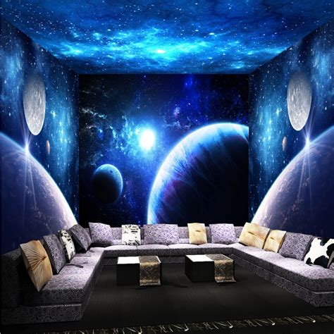 themes in a house in the sky photo wallpaper cool universe sky 3d theme space room wall