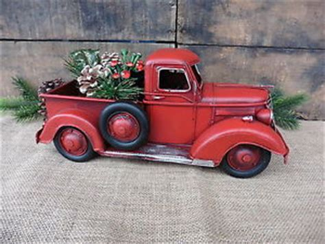 red christmas vintage pick ups for sale truck folk rustic decor vintage style metal up ebay