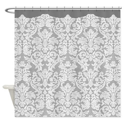 grey lace pattern lace pattern white gray shower curtain by marshenterprises