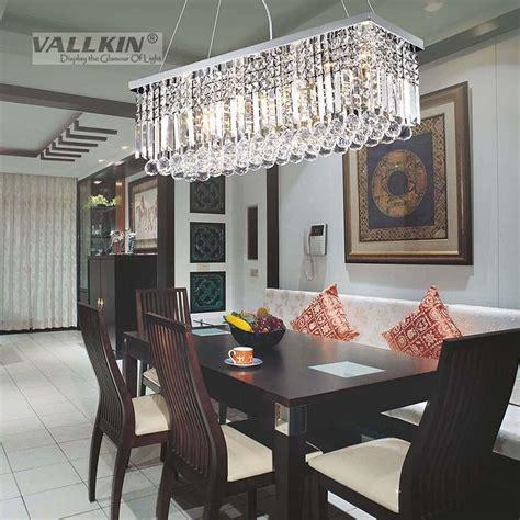vallkin modern rectangular crystal chandelier dining room length multiple size led cyrstal