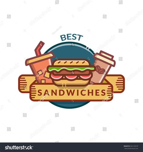 Sandwich Label Template sandwiches badge label logo icons design stock vector