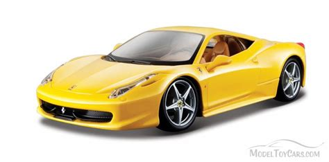 ferrari yellow car ferrari 458 italia hard top yellow bburago 26003 1 24