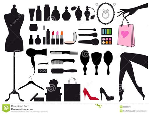 fashion design elements fashion and beauty vector set stock vector illustration