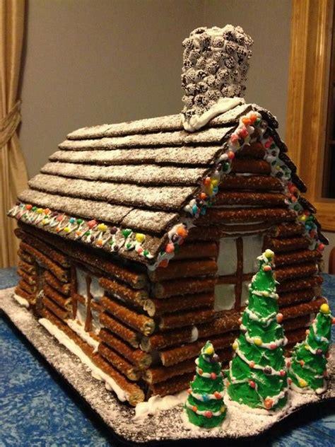 gingerbread house ideas gingerbread house love pinterest pretzel log cabin love this idea as a unique alternative