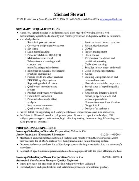 Quality Engineering Resume Sles Mike Stewart Resume Quality Engineer 01 12