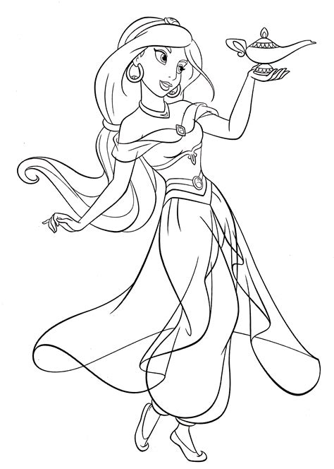 coloring pages jasmine princess walt disney coloring pages princess jasmine walt